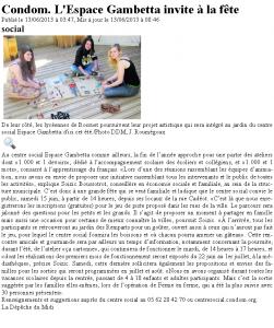 article de presse 13 juin 2013 la dépéche